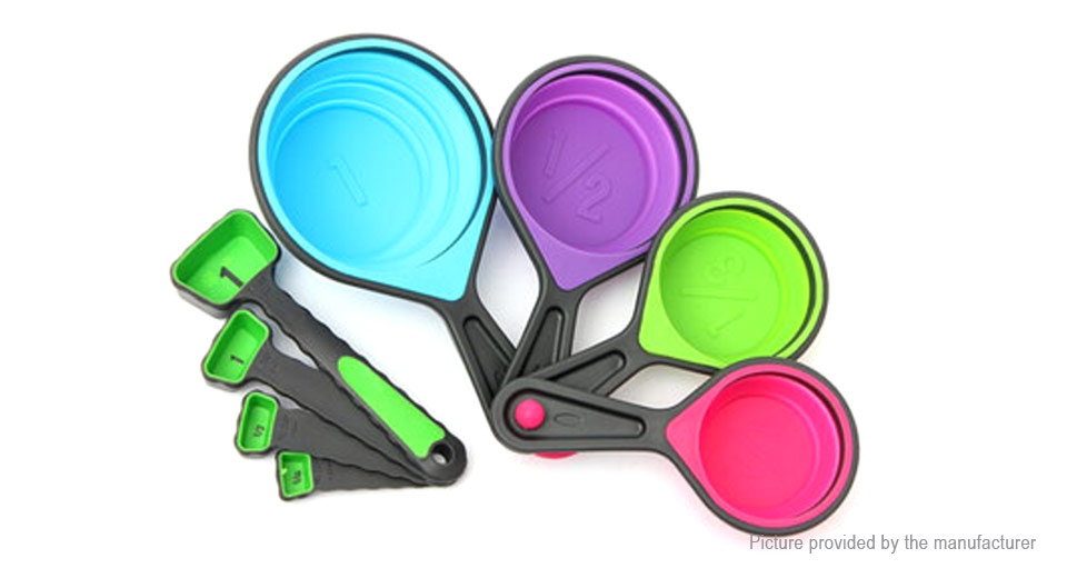 Silicone Collapsible Measuring Cup Spoons Kitchen Tool (8 Pieces)