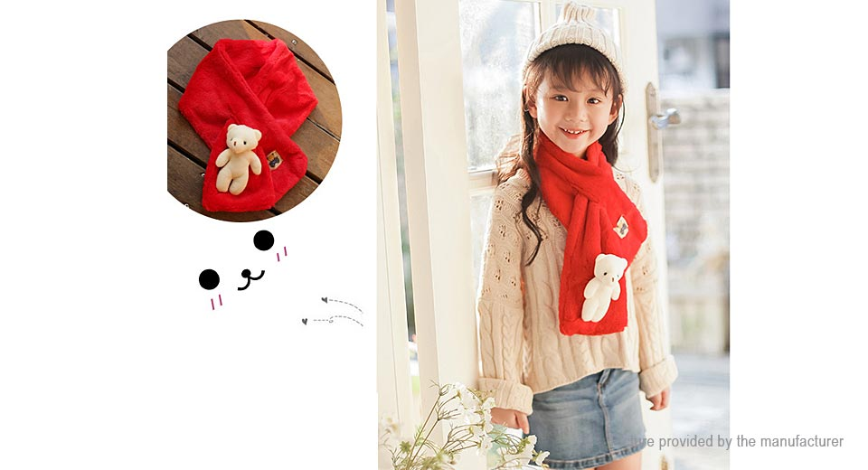 Baby Kids Cartoon White Bear Winter Warm Faux Fur Cross Neck Warmer Scarf