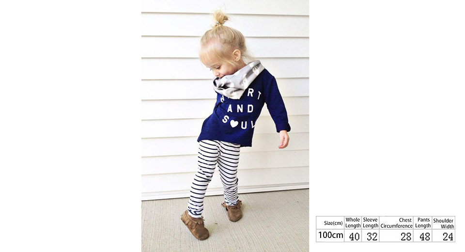 Little Girl's Long Sleeve Letters Print Shirt + Striped Pants Set (100cm)