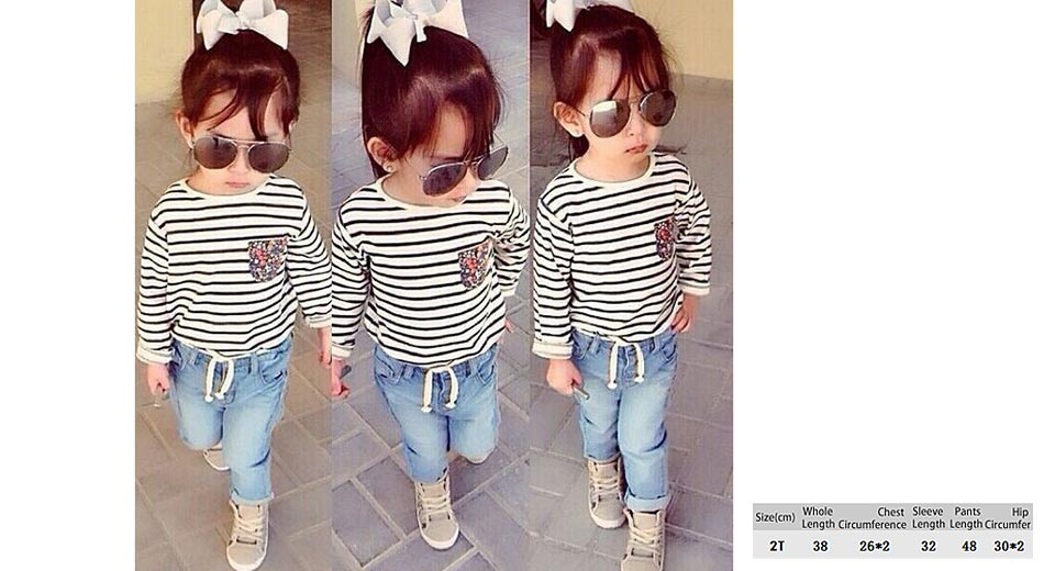 Baby Girl's Fashion Striped O-Neck T-Shirt + Long Jeans Casual Clothing Sets (2T)