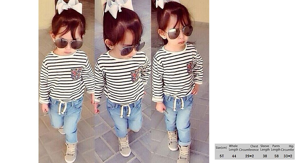 Baby Girl's Fashion Striped O-Neck T-Shirt + Long Jeans Casual Clothing Sets (5T)