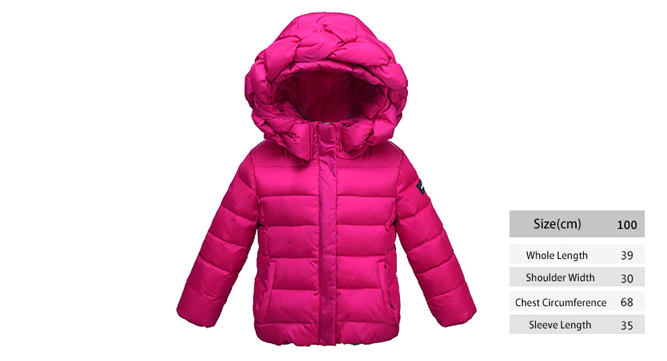 Little Girl's Winter Warm Hooded Zip Up Puffer Coat Down Jacket (100cm)