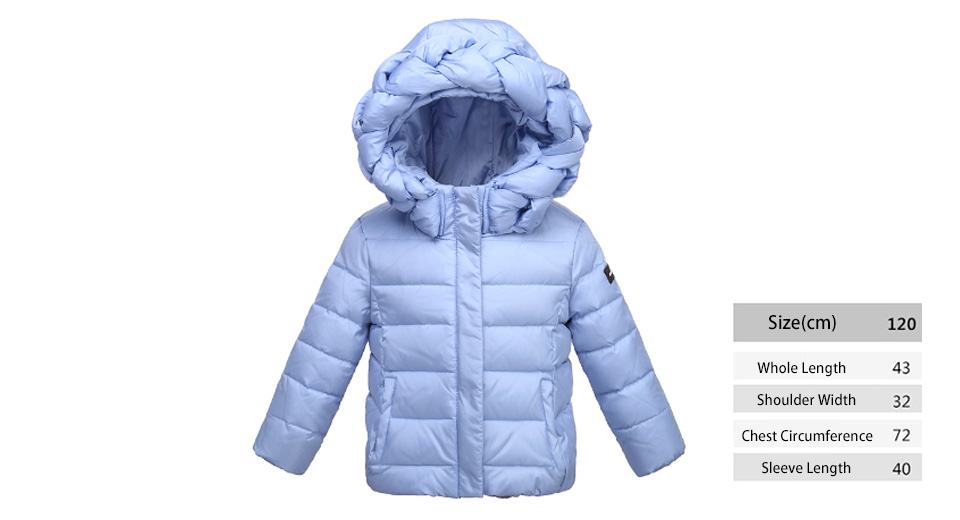 Little Girl's Winter Warm Hooded Zip Up Puffer Coat Down Jacket (120cm)