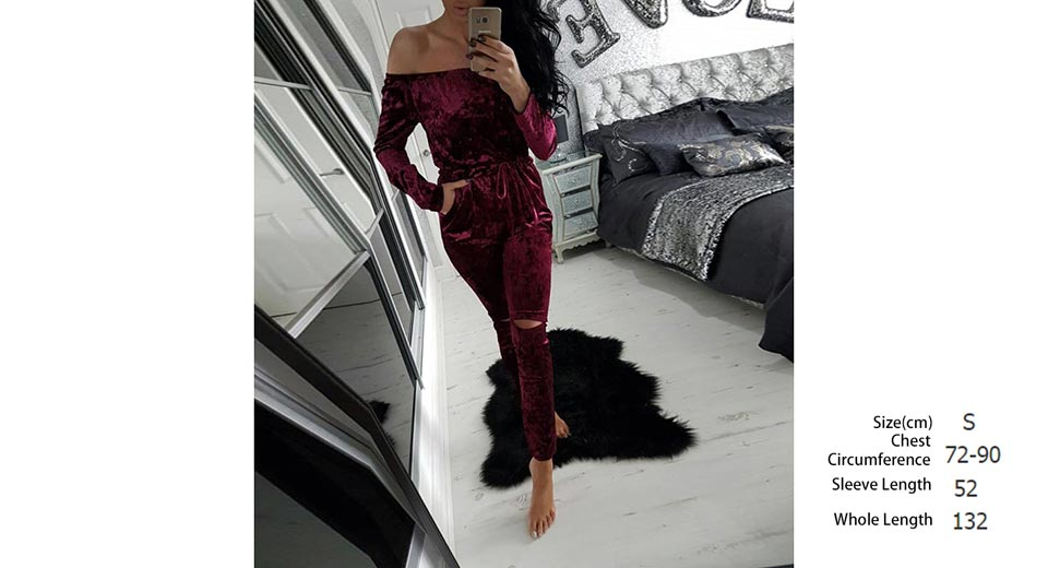 Women's Velvet Off Shoulder Drawstring Slim Jumpsuit Romper (Size S)
