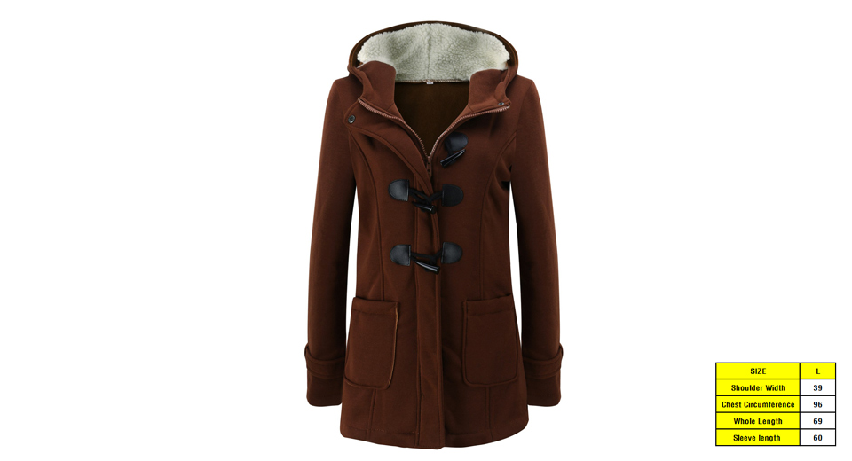 Women's Winter Hooded Horn Button Long Thicken Cotton Padded Parka Coat (Size L)