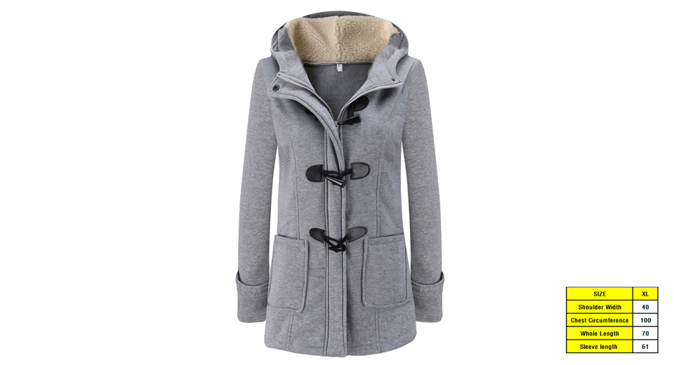 Women's Winter Hooded Horn Button Long Thicken Cotton Padded Parka Coat (Size XL)