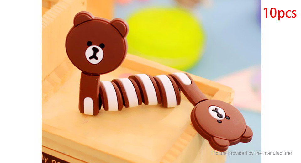 Cartoon Styled Earphone Cable Cord Winder Organizer (10-Pack)