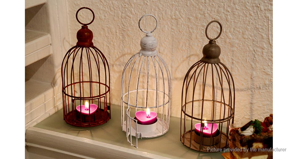 Birdcage Styled Candlestick Candle Holder Home Decor, Yellow Birdcage Style, Yellow