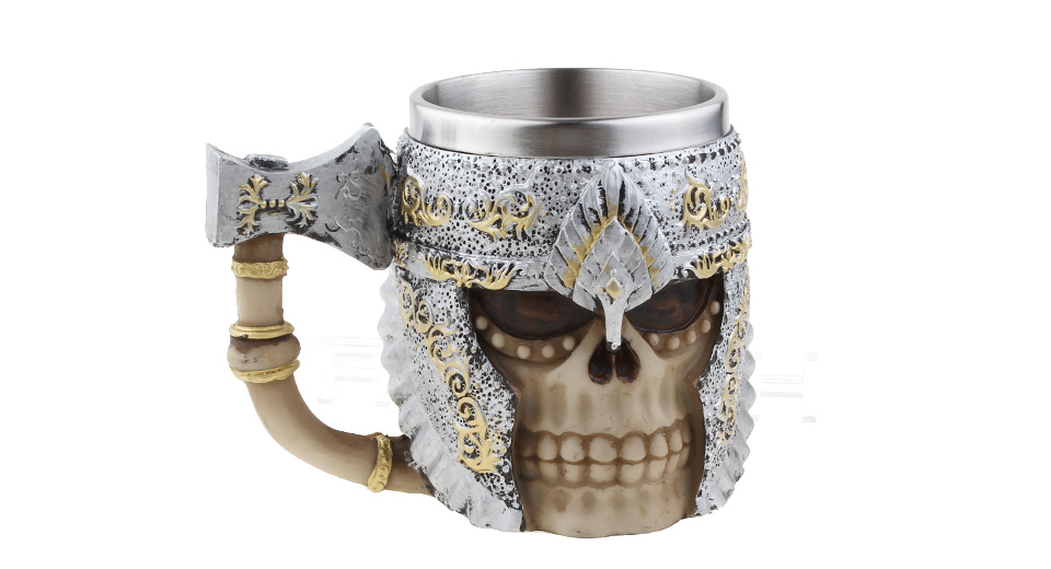 Image of 3D Axe Handgrip Skull Styled Stainless Steel Coffee Mug Cup (400ml)
