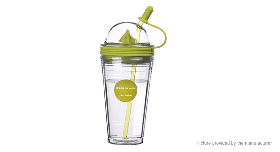 Portable Lemon Fruit Juice Cup Leak-proof Plastic Drinking Straw Cup (560ml)