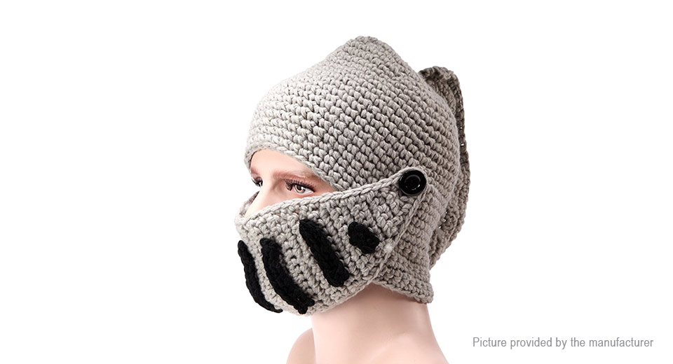 Image of Adults' Winter Warm Novelty Rome Knight Knitted Beanie Cap w/ Mask