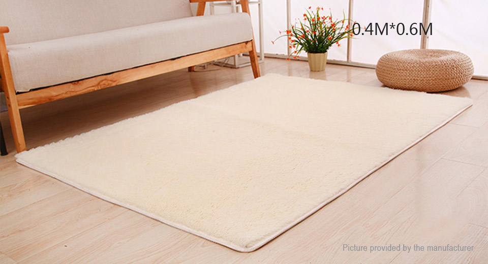 Super Soft Anti-Skid Thicken Plush Carpet Floor Mat Rug (40*60cm) Rectangle, 40*60cm, Beige