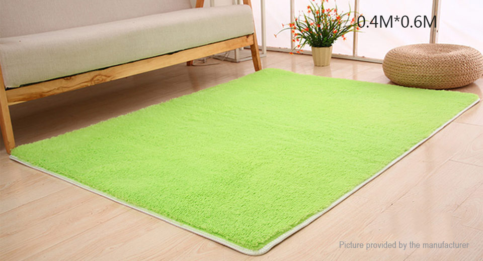 Super Soft Anti-Skid Thicken Plush Carpet Floor Mat Rug (40*60cm) Rectangle, 40*60cm, Green
