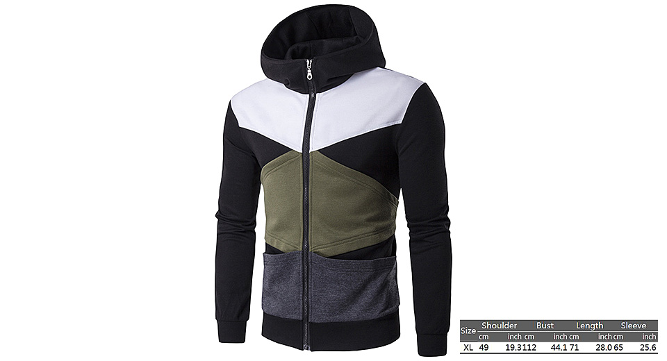 Image of Men's Color Splicing Zippered Slim Fit Hooded Coat (Size XL)