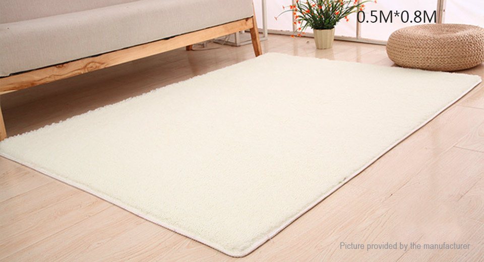 Super Soft Anti-Skid Thicken Plush Carpet Floor Mat Rug (50*80cm) Rectangle, 50*80cm, White