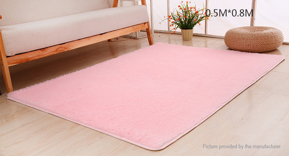 Super Soft Anti-Skid Thicken Plush Carpet Floor Mat Rug (50*80cm) Rectangle, 50*80cm, Pink
