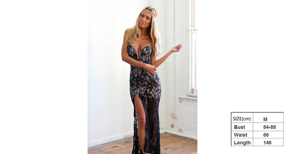 Women's Deep V Neck High Side Split Floral Lace Long Party Dress (Size M)