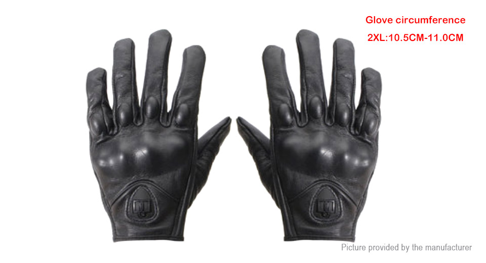 Outdoor Motorcycle Bicycle Riding Full Finger Protective Leather Gloves (Pair/Size 2XL)