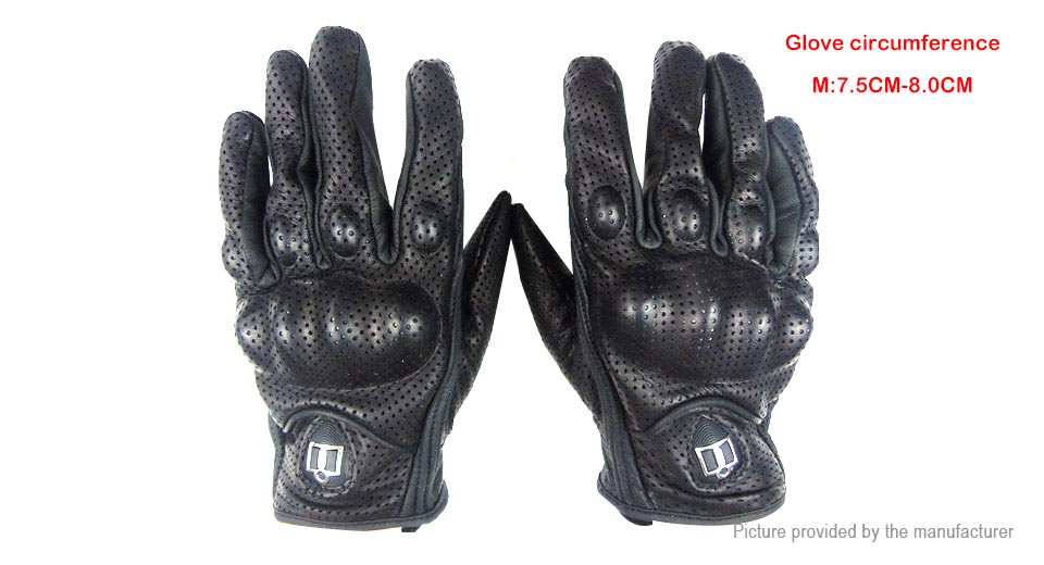 Outdoor Motorcycle Bicycle Riding Full Finger Protective Leather Gloves (Pair/Size M)