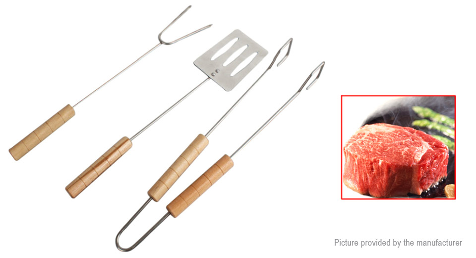 Stainless Steel Outdoor Picnic BBQ Barbecue Grill Fork Cooking Utensil (3-Piece Set)