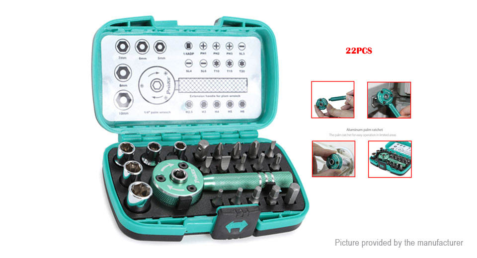 Pro'sKit SD-2319M Palm Ratchet Wrench Bit Multi-function Tool Set (22 Pieces)
