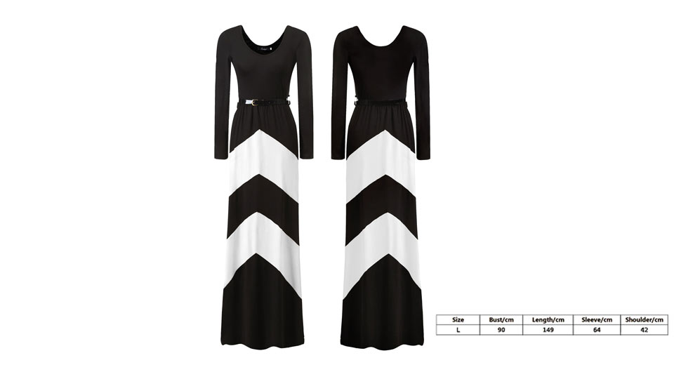 Image of Women's Long Sleeve Scoop Neck Color Block Wavy Maxi Dress (Size L)
