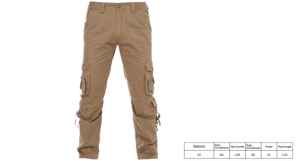 Image of Men's Multi Pockets Casual Loose Cotton Cargo Pants (Size 32)