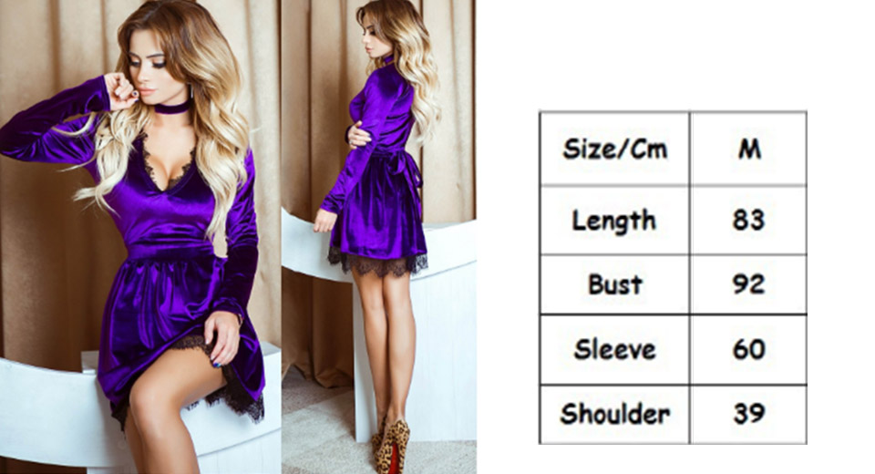 Women's Sexy Lace Deep V Neck Mini Dress w/ Choker (Size M) Purple, Size M