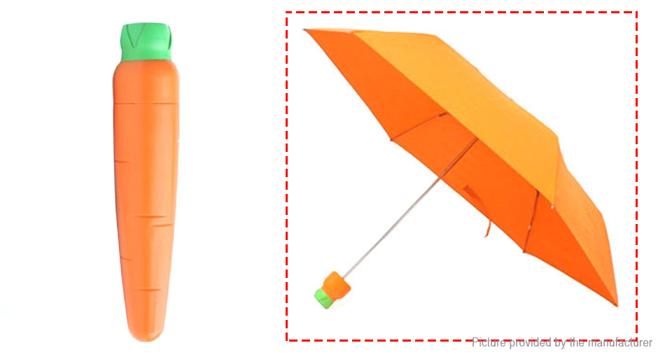 Image of Creative Vegetable Simulation Carrot Folded Double Sunny Rainy Umbrella