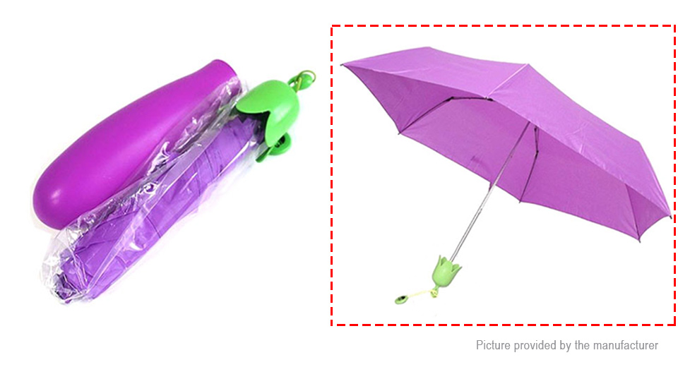 Image of Creative Vegetable Simulation Eggplant Folded Double Sunny Rainy Umbrella
