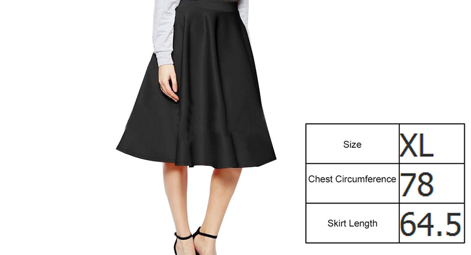 Image of Women's Elegant High Waist A-Line Flared Midi Skirt (Size XL)