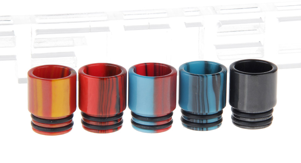 Epoxy Resin Wide Bore Drip Tip for The Council of Vapor Vengeance Clearomizer (5 Pieces) 5 Pieces, 5 Colors