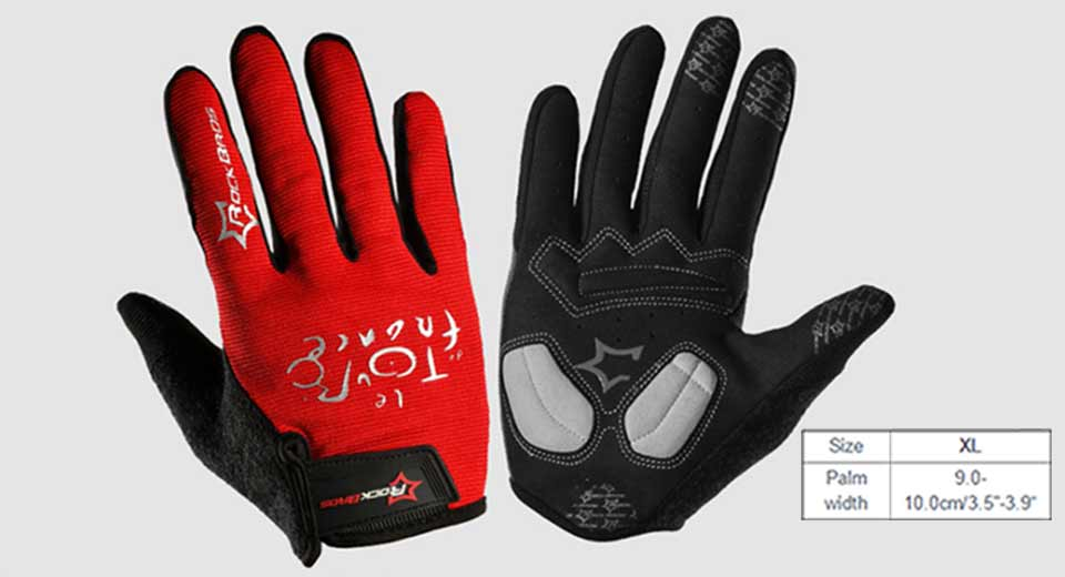 Image of ROCKBROS Unisex Anti-slip Full Finger Touch Screen Cycling Gloves (Size XL)
