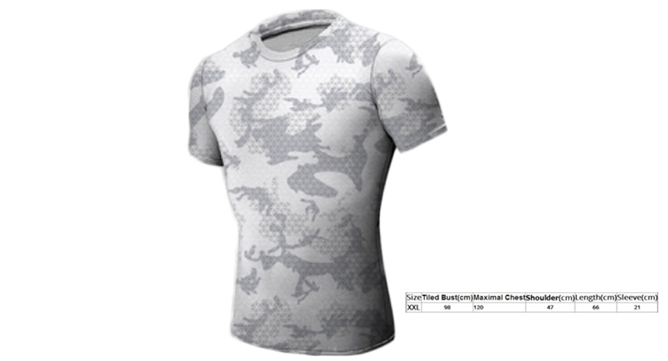 Men's Camouflage Short Sleeve Fitness Tights Quick-dry T-shirt (Size 2XL)