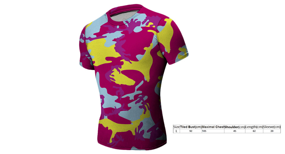 Men's Camouflage Short Sleeve Fitness Tights Quick-dry T-shirt (Size L)