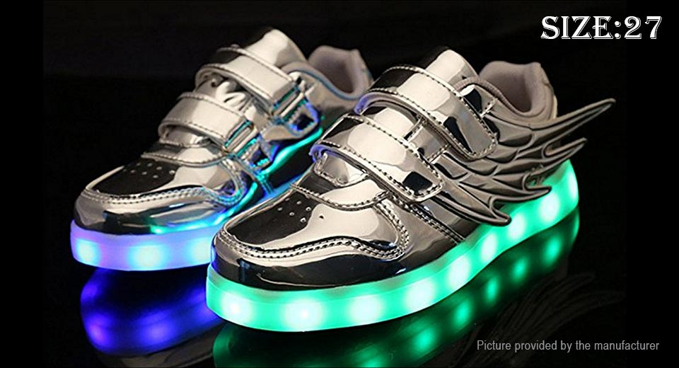Kids LED Light Up Wings Decorative PU Leather Shoes Sneakers (Size 27)