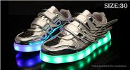 Buy Kids LED Light Wings Decorative PU Leather Shoes Sneakers (Size 30) Silver, Size 30