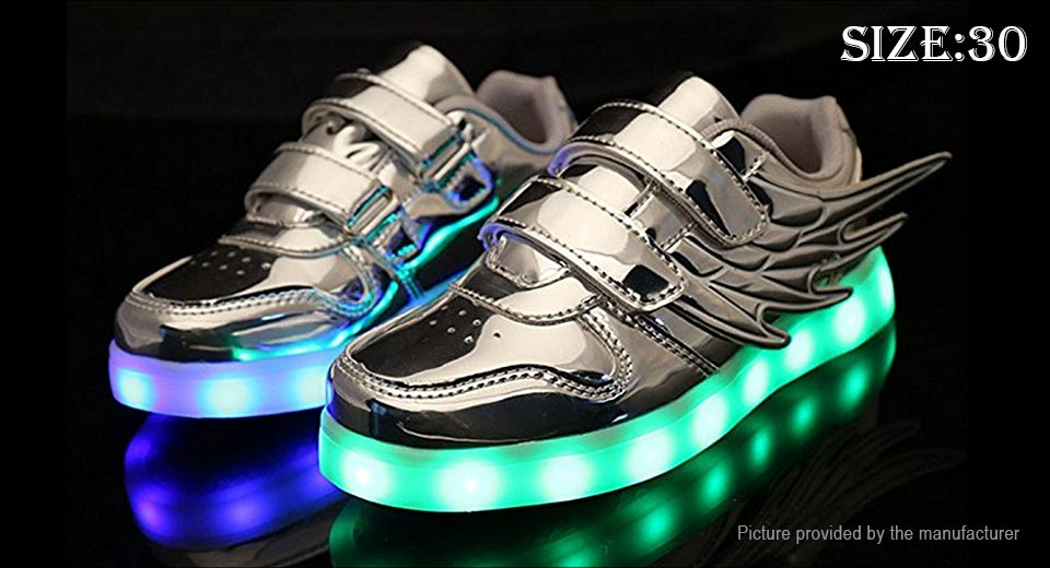 Kids LED Light Up Wings Decorative PU Leather Shoes Sneakers (Size 30)