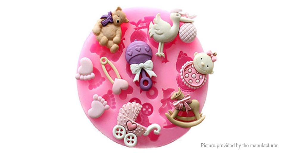 Silicone Baby Pram Bear Carrousel Styled Mould Fondant Cake Decoration Mold