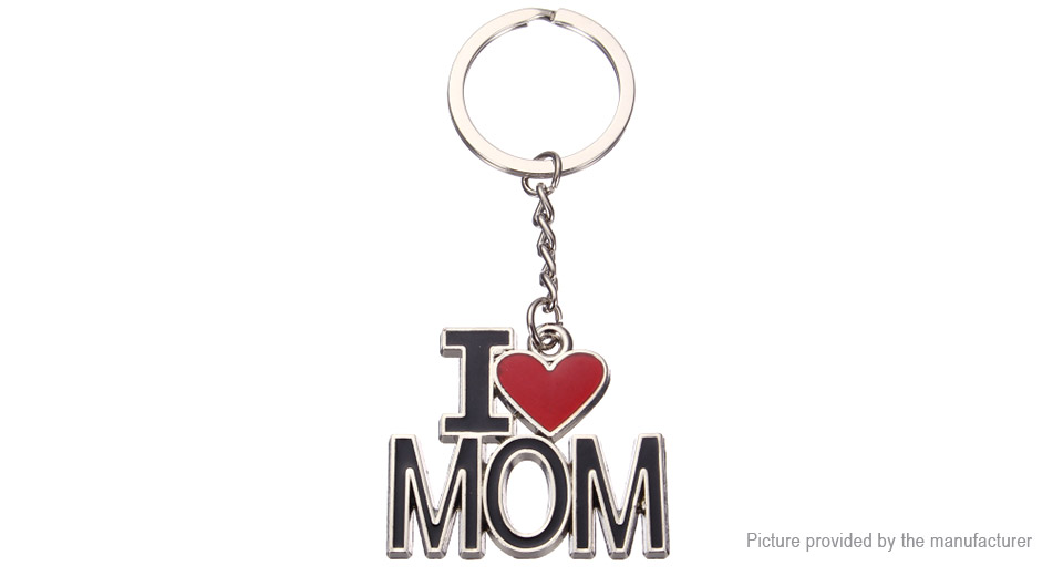 Letters I Love Mom Styled Keychain