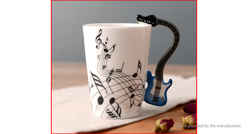 Novelty Electric Guitar Styled Ceramic Mug Coffee Tea Cup (300ml)