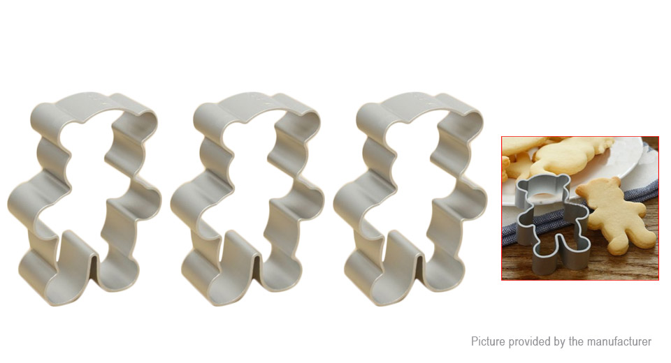 Bear Shape Cookie Fondant Cake Cutter Mold (3-Pack)