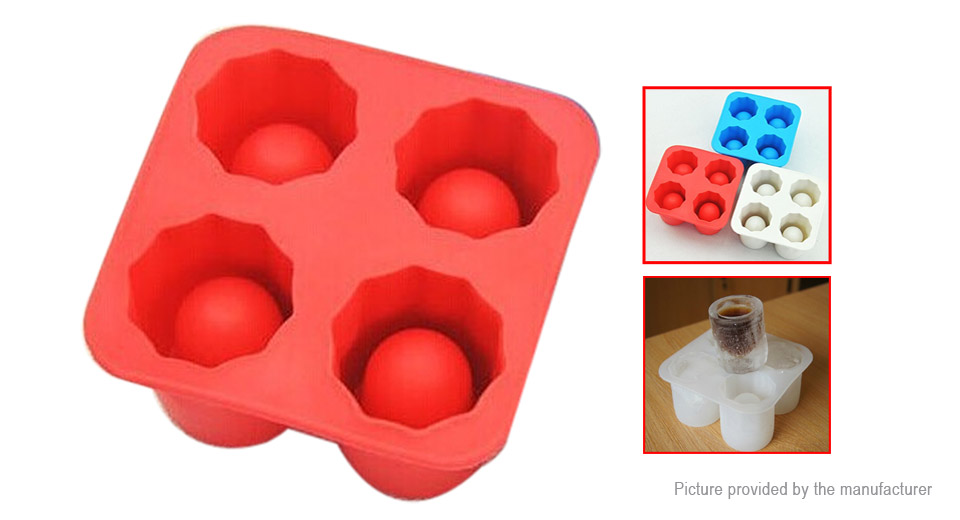 4 Cup Styled Silicone DIY Ice Mold (Random Color)