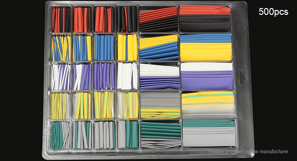 Heat Shrink Tubing Wire Cable Sleeving Wrap Tube Kit (500 Pieces)