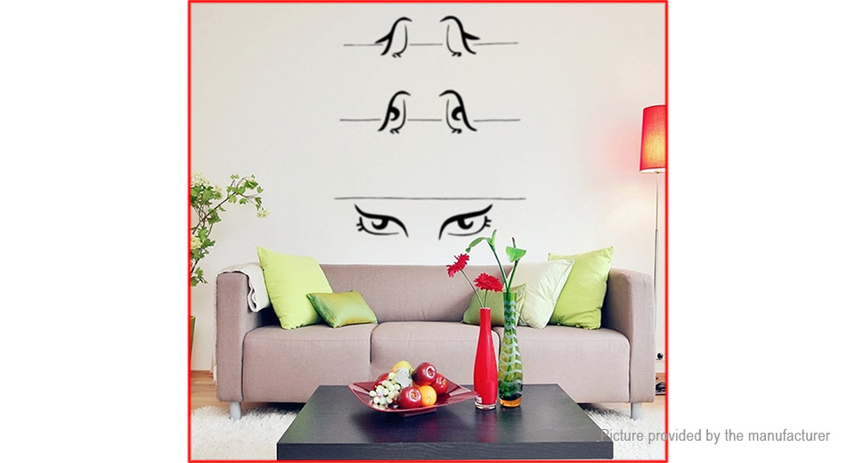 Penguin & Eyes Styled Wall Sticker Home Decor