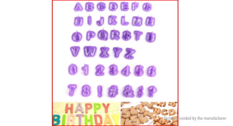 Number & Letters Shaped Fondant Cake Cookie Cutter Mold Baking Tool (40 Pieces)