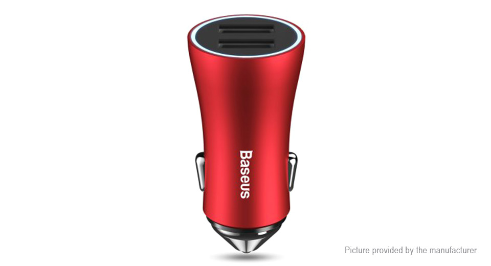 Baseus Golden Contactor Dual USB Smart Car Charger Red