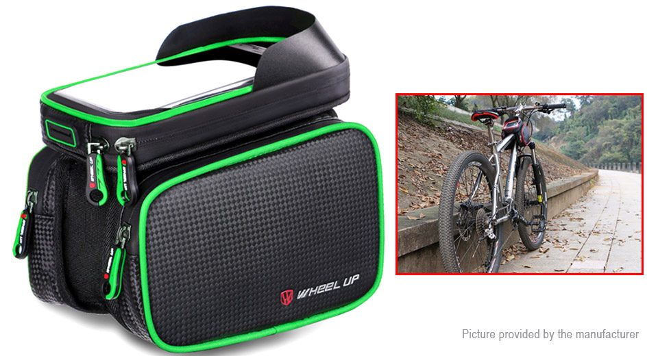 WHEEL UP Bicycle Cycling Front Tube Frame Phone Bag, Front Tube Bag D, Green