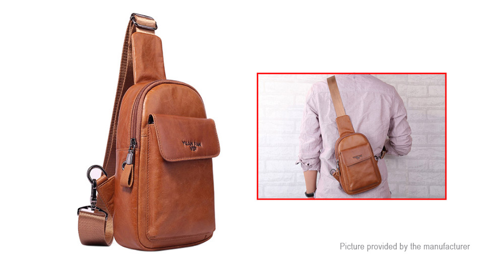Men's Multi-function Casual Crossbody Chest Bag Sling Bag Style 02, Yellow Brown