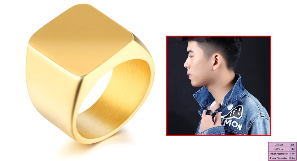 Men's 19mm Square Polished Stainless Steel Finger Ring (Size 8) Gold, Size 8